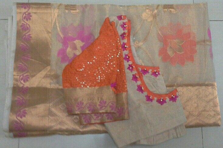 Tissue kota saree with elbow length hands 7702919644