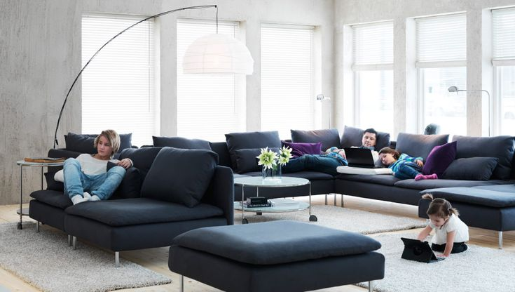 SÖDERHAMN sofa combination-  like the sofa (ikea) may be a little big but looks like you can buy it to whatever size you want.