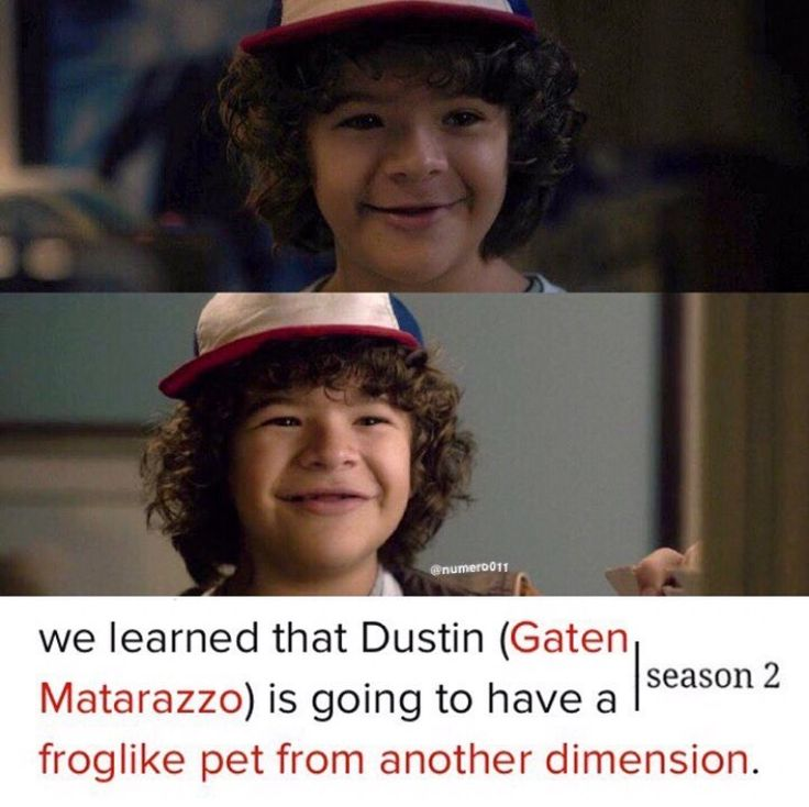 only dustin would end up with an interdimensional pollywog ...