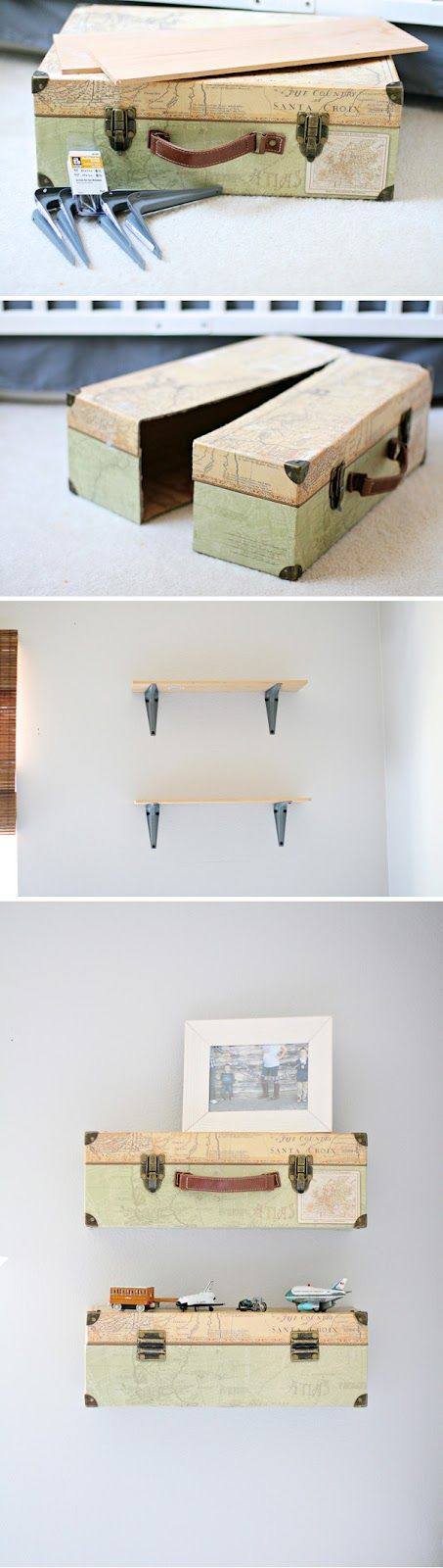 I'm working on finishing the boys' room, but first I have to share one of my favorite parts ofit. The suitcase shelf!!This room will even...