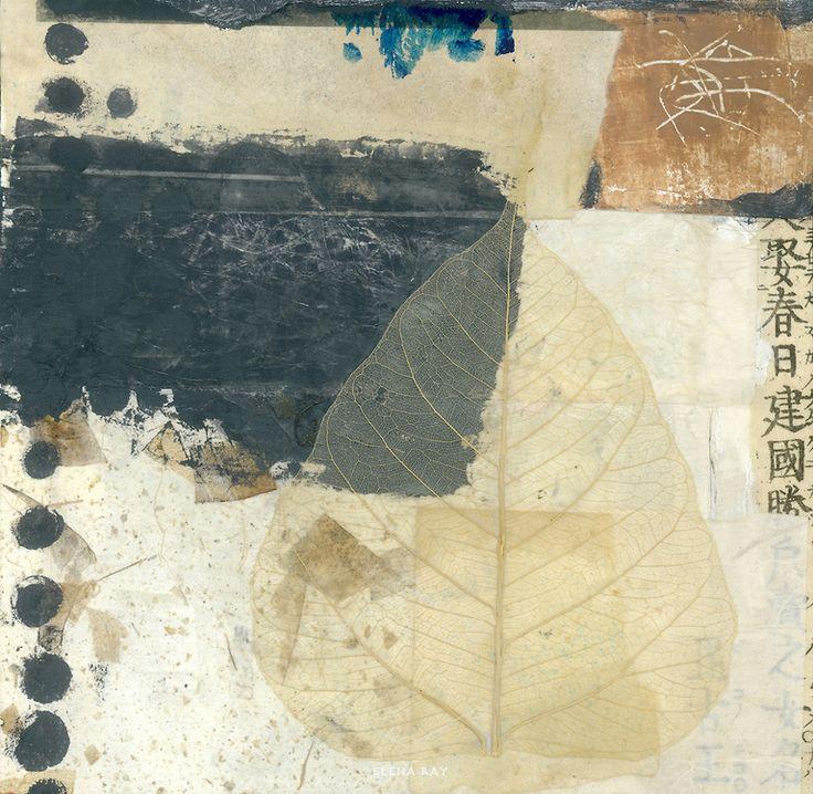 Wabi-sabi Bodhi leaf collage.