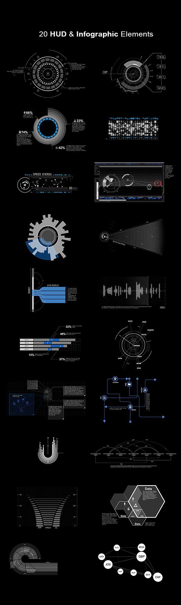 HUD & Infographic Elements by Jones Lee, via Behance