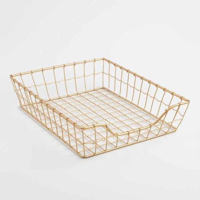 World Market | Gold Wire Antonia Paper Tray (times 3!)