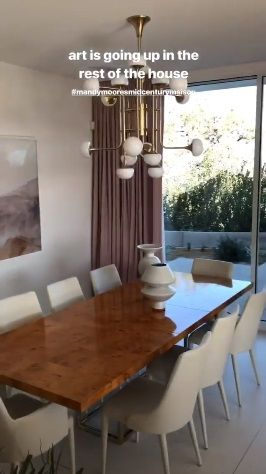 Mandy Moore S New Dining Room Burl Wood Table White Chairs Modern Chandelier Light Fixture