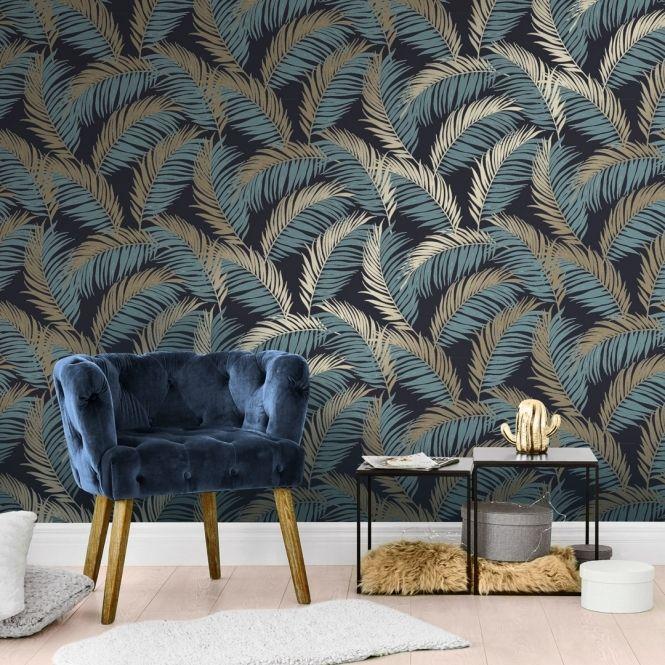 Vivienne Leaf Wallpaper Navy Gold Feature Wallpaper Living Room Feature Wall Living Room Wallpaper Living Room