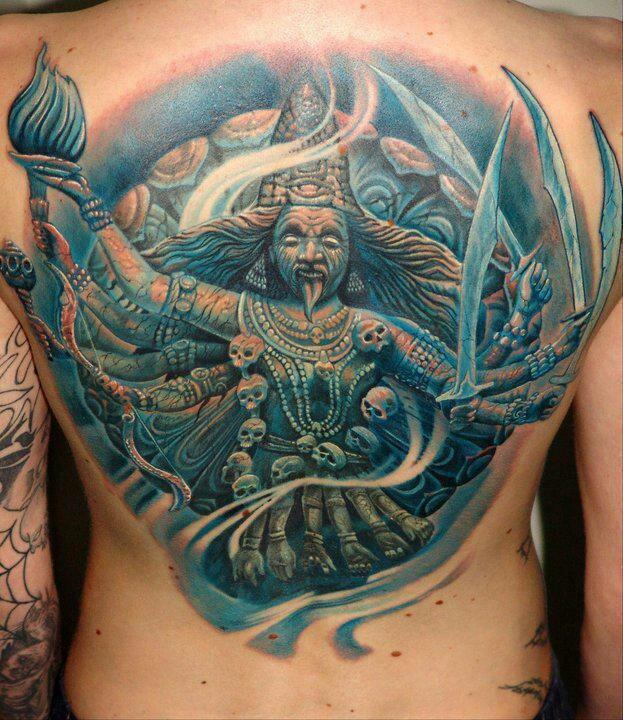durga kali yuga realism back tattoo amazing use of blue ink in this indian goddess art ink. Black Bedroom Furniture Sets. Home Design Ideas