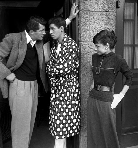 Dean Martin, Jerry Lewis, and Audrey Hepburn on the Paramount lot, 1954. Photograph by Bob Willoughby.
