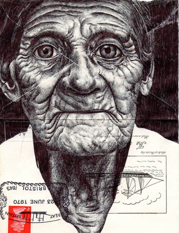 Mark Powell's Incredible Ballpoint Pen Art On… Old Envelopes?""