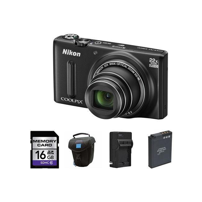 Nikon Coolpix S9600 Digital Camera  Black  2 Batteries 16GB & More