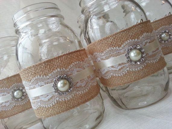 Mason Jar Centerpiece - Burlap and Lace