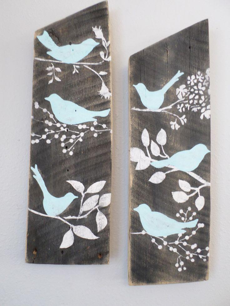 Rustic Nursery Wall Decor : Reclaimed aqua country custom order blue birds rustic