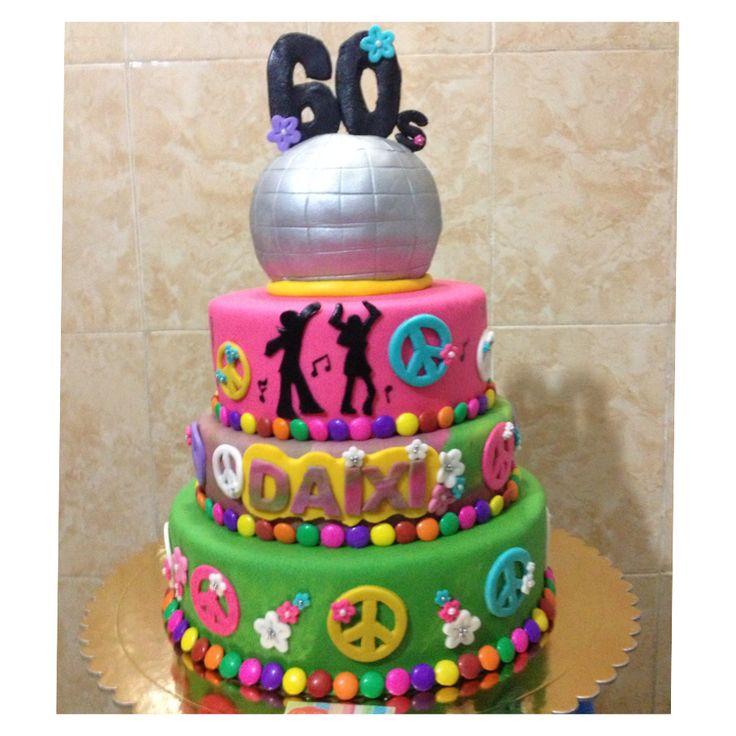 60 S Theme Cake I Made It Groovy Disco Cake 60th