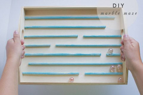 diy kids craft — make your own marble maze. Might be a cool activity for McSnubbins and K to work on?