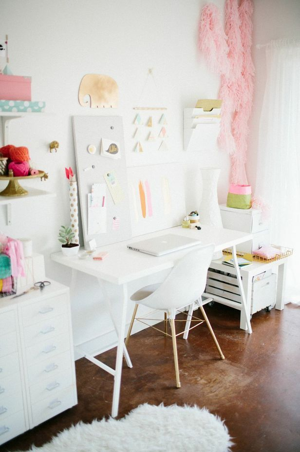 Pastel office from Ashley Rose's home tour || The Everygirl
