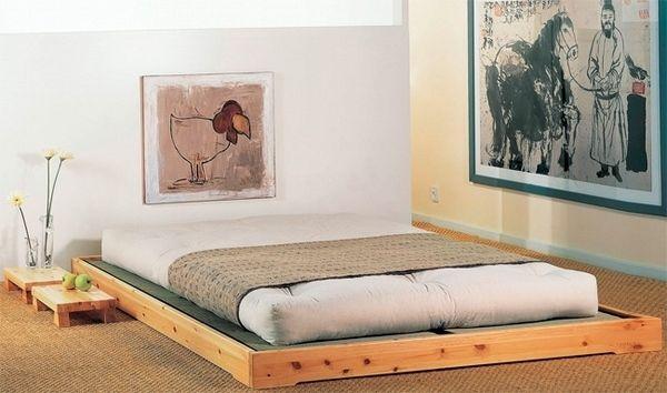 modern futon bed wood frame japanese style bedroom wooden platform