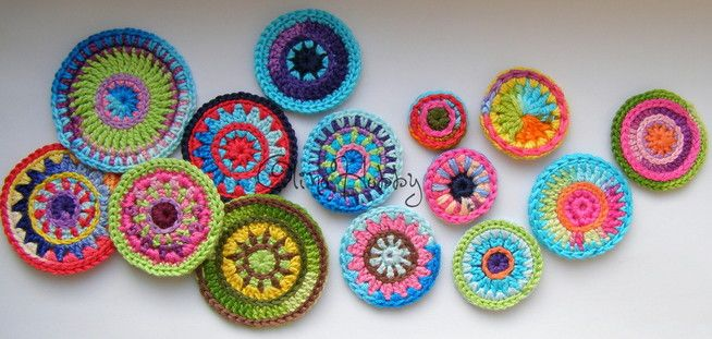 Multicolor círculo de punto, ganchillo motivos circulares, mandala