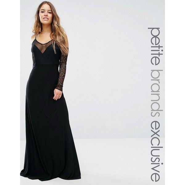 John Zack Petite Plunge Front Maxi Dress With Off Shoulder Sleeve... (€67) ❤ liked on Polyvore featuring dresses, black, petite, sleeved dresses, off-the-shoulder lace dresses, lace sleeve dress, sleeved maxi dress and cold shoulder maxi dress