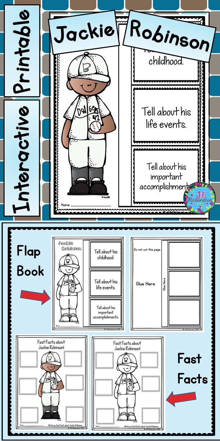 Jackie Robinson Activities: Have your children research Jackie Robinson. This product includes two ways for your children to share what they have learned about Jackie Robinson in writing. Take a look at the preview! Flap Book Writing Printable(color and black and white) Jackie Robinson Fast Facts (color and black and white)