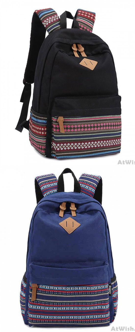 New Folk Striped College Canvas Backpack for big sale! #folk #canvas #striped #backpack #Bag #college