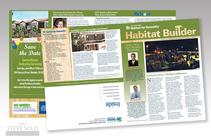 NEWSLETTER DESIGN-Fresh off the press. Updated newsletter design for Habitat for Humanity, April 2012 Edition.