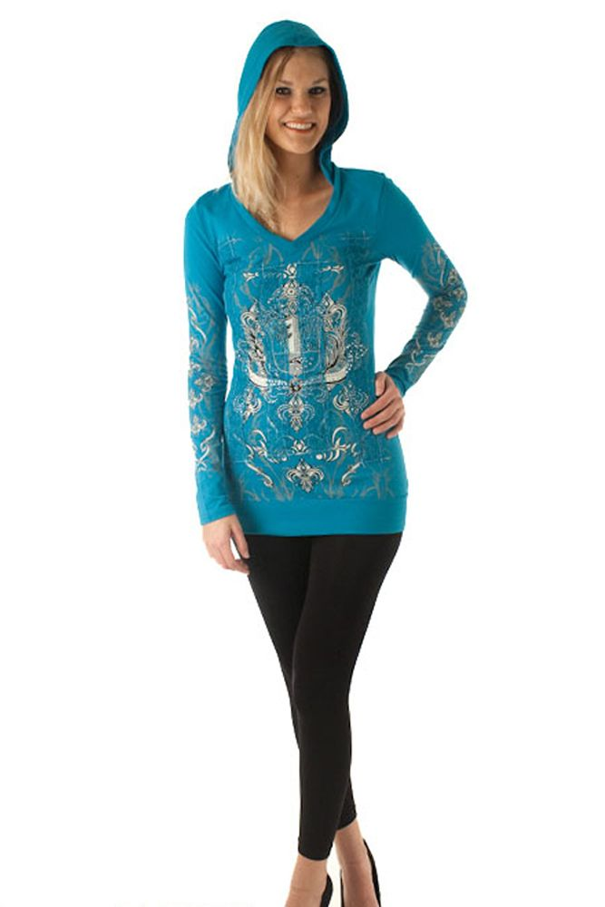 DHStyles Women's Teal Bold Embellished Tattoo Print Hoodie Top - Large #sexytops #clubclothes #sexydresses #fashionablesexydress #sexyshirts #sexyclothes #cocktaildresses #clubwear #cheapsexydresses #clubdresses #cheaptops #partytops #partydress #haltertops #cocktaildresses #partydresses #minidress #nightclubclothes #hotfashion #juniorsclothing #cocktaildress #glamclothing #sexytop #womensclothes #clubbingclothes #juniorsclothes #juniorclothes #trendyclothing #minidresses #sexyclothing…