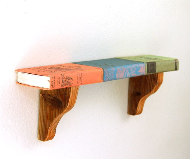 Wall Shelf From Faux Vintage Books - A Piece Of Rainbow