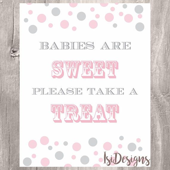 Babies are sweet printable pink and gray confetti baby shower
