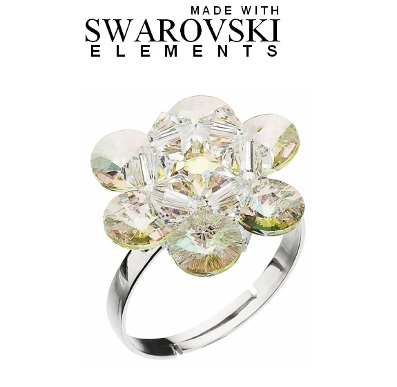 SWAROVSKI®Elements: Anello Margherita in argento rodiato 925/1000 (taglia universale)
