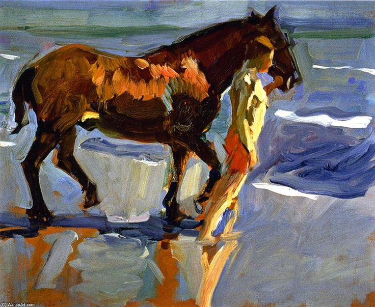 My new favorite artist. The Horse Bath (study), Oil On Canvas by Joaquin Sorolla Y Bastida (1863-1923, Spain)