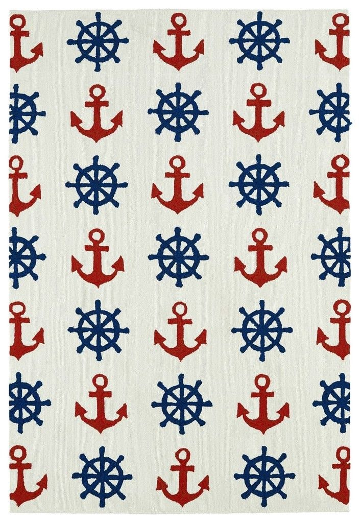 Blue Ship Wheels And Red Anchors Nautical Rug Nautical Rugs Area Rugs Kaleen