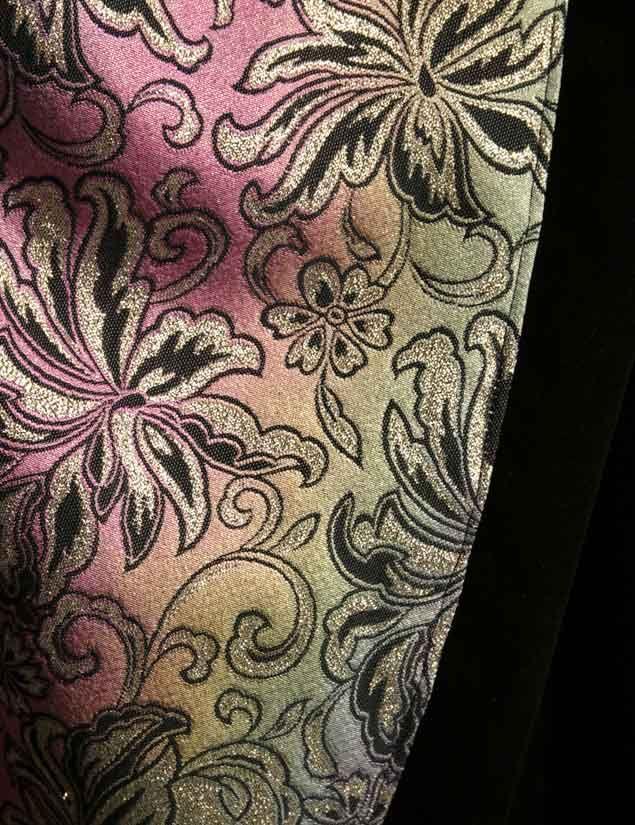 Only $100:  Size 14/16 Kimono is brilliant Rainbow brocade anchored with black velvet bands. xoPeg  #PeggyLutzPlus #PlusSize #style #plussizestyle  #plussizeclothing  #plussizefashion  #womenstyle #womanstyle #womanfashion #holidaysale  #holidayfashion #holidaystyle #fallstyle #fallfashion #plusbridal #motherofbride #motherofgroom #wedding #eveningwear #divawear