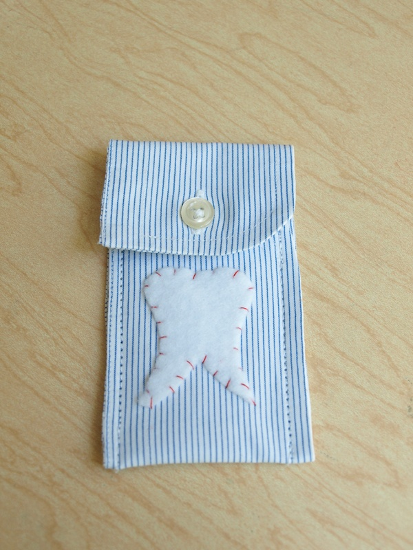 Tooth fairy Shirt Cuff Pouches...we have our first loose tooth, better make this soon