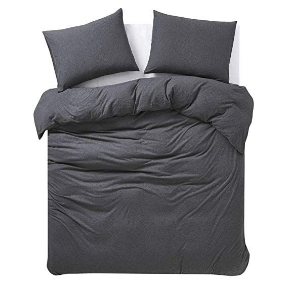 Amazon Com Wake In Cloud Jersey Cotton Duvet Cover Set Dark Gray Grey Top Dyed Fabric In Plain Solid Color Duvet Cover Sets Cotton Duvet Cover Cotton Duvet