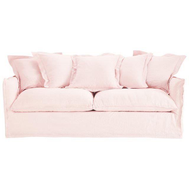 Divano fisso a 3/4 posti in lino lavato rosa pallido Barcelone