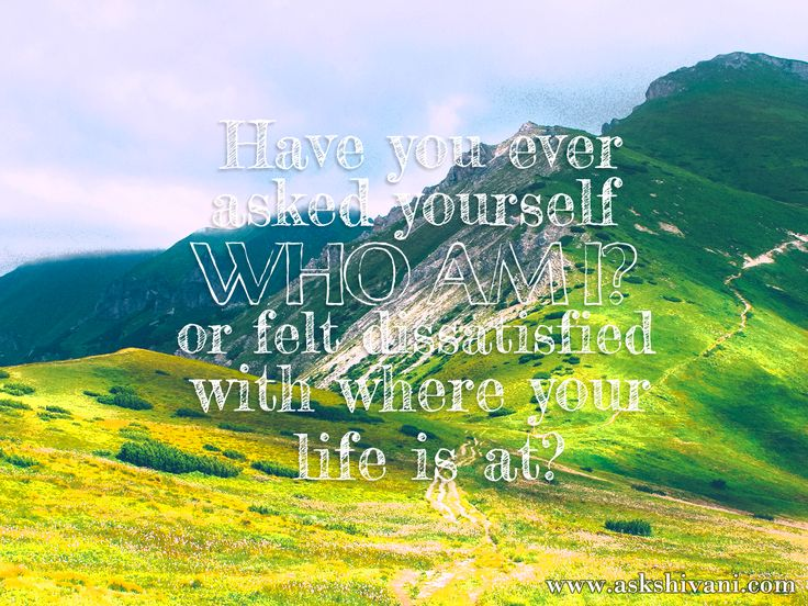 Have you ever asked yourself 'who am I?', or felt dissatisfied with where your life is at? http://ow.ly/TJONM