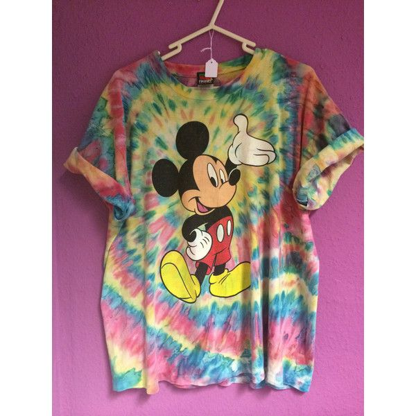 Vintage Mickey Mouse Disney Tie Dye 90s Grunge Psychadelic T-Shirt Top ($15) ❤ liked on Polyvore featuring tops, t-shirts, shirts, tie dye shirts, tie dyed t shirts, tie dye t shirts, vintage tees and vintage mickey mouse shirt