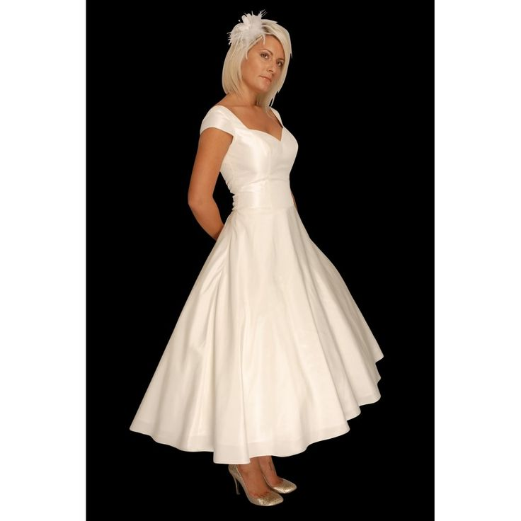 1950s Style Tea Length Wedding Dress