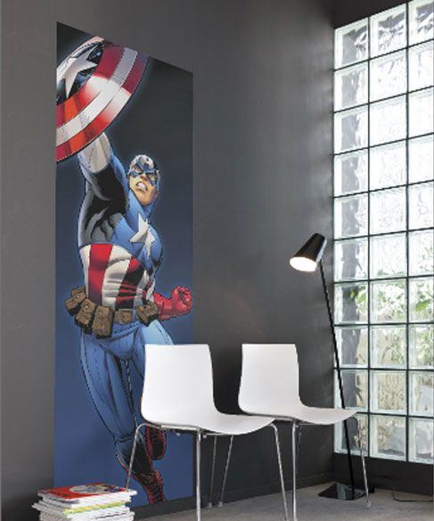 Captain America Photo Wall Mural 73 x 202 cm - Transform your room with this maxi wall sticker mural