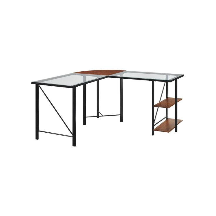 Altra Cruz Glass Top L Shaped Corner Desk   Cherry/Black
