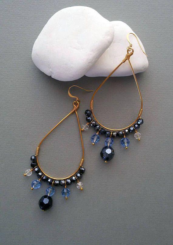 Gold Plated Teardrop Hoop Blue Glass Beaded Earrings