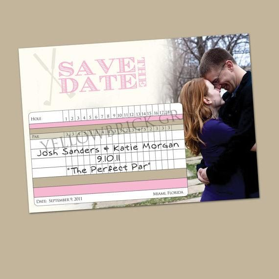 love the idea of using golf scoring cards in some way...not as save the dates but maybe seating cards? RSVP cards to slip inside invites?