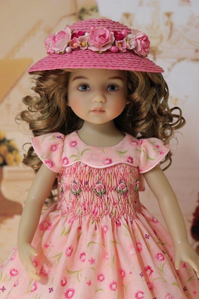 "London Lawn Smocked Dress Slip Hat Ensemble 13"" Little Darling Doll Betsy McCall"