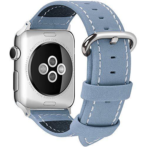 awesome Apple Watch Correa, Fullmosa®Mosa Series Apple Watch Pulsera de Piel Apple Watch Band Reemplazo de Reloj con Costuras Blancas y Cierre de Acero Inoxidable para Apple Watch iWatch Serie 1 Serie 2