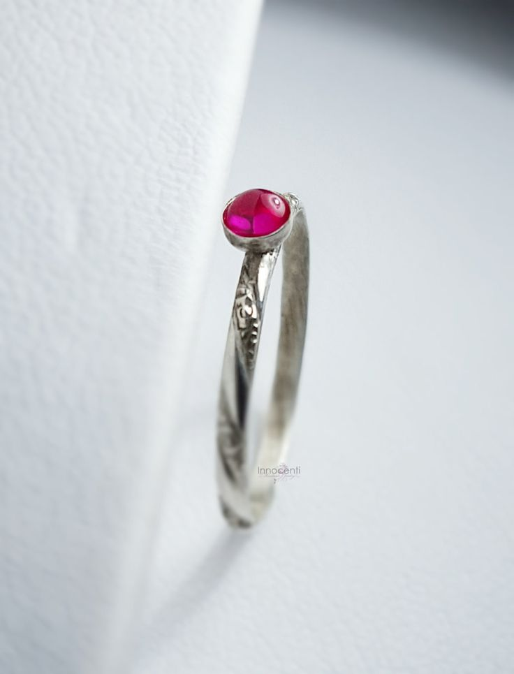 Ruby Ring Dainty Ruby Ring Ruby Stack Ring Silver Ruby Ring July Birthstone Ring Ruby Stacker Pink Gemstone Ring Ruby Engagement Ring by INNOCENTIJEWELRY on Etsy