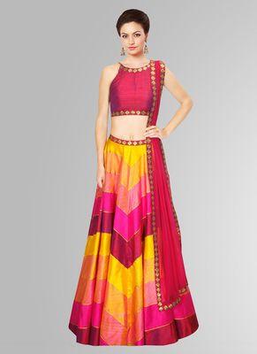 New Raw Silk Pink & Red Printed Sequence Work Navratri Special Lehngha Choli By Shreeji Fashion Lehengas