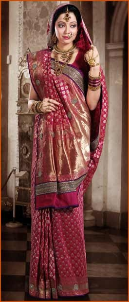 Dark #Pink Pure #Banarasi #Silk #Saree with #Blouse @ $536.04 | Shop Here: http://www.utsavfashion.com/store/sarees-large.aspx?icode=snn38