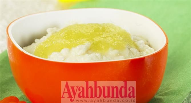 :: Bubur Susu Saus Melon :Milk porridge with melon sauce. For baby 6 months +, recipe in Bahasa Indonesia