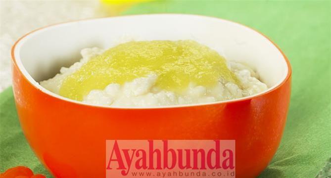 :: Bubur Susu Saus Melon :Milk porridge with melon sauce. For baby 6 months +, recipe in Bahasa Indonesia