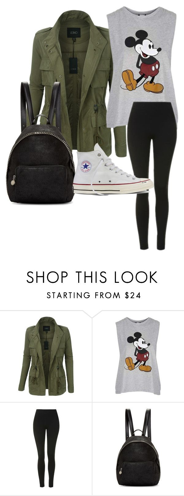 """Untitled #1"" by ranixcamande on Polyvore featuring LE3NO, Topshop, STELLA McCARTNEY and Converse"
