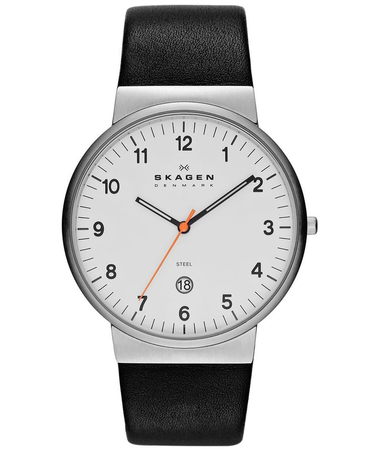 A modern everyday watch with minimalist charm, by Skagen. | Black leather strap | Round stainless steel case, 45mm | White dial with black numerals, minute track, two luminous hands, orange second han
